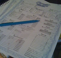 An example paper character sheet
