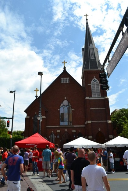 This is some kind of former church-y thing, with Pride booths along the front.