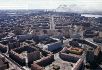 An aerial shot of Norilsk, Russia.