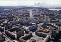 An aerial shot of Norilsk, Russia.