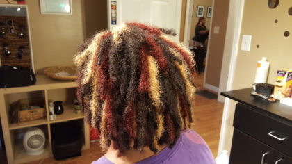 The back view of my newly dyed locs.