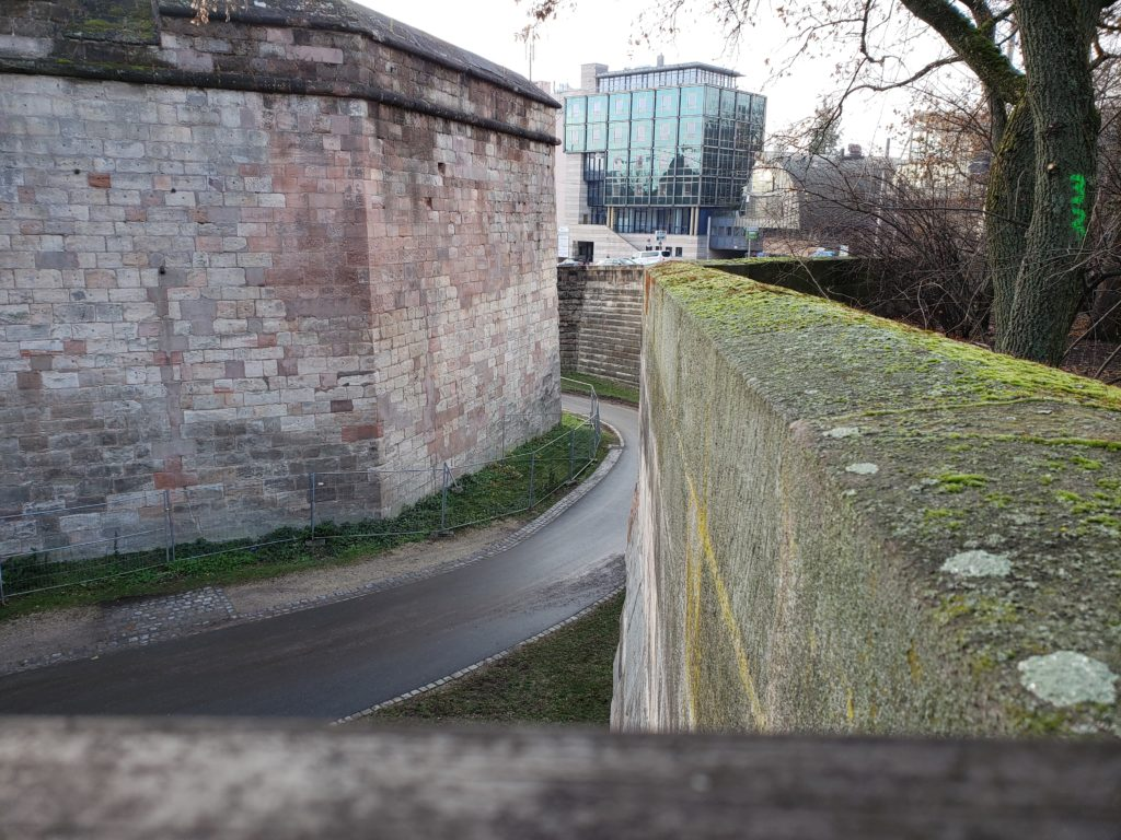 The small road between the main Nuremberg wall and the wall against the road.