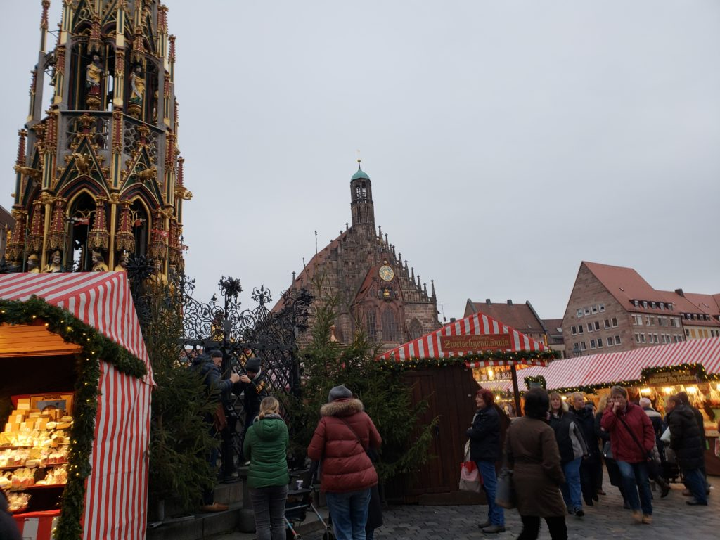 Early evening picture of some Christmas Market stalls.